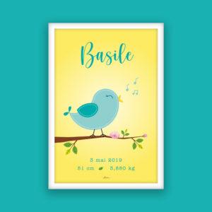 affiche naissance oiseau